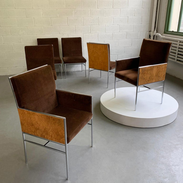 20th Century Milo Baughman Chrome and Olive Burl Upholstered Dining Chairs For Sale