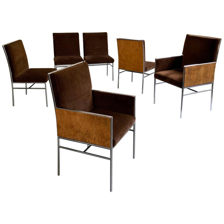 Milo Baughman Chrome and Olive Burl Upholstered Dining Chairs For Sale