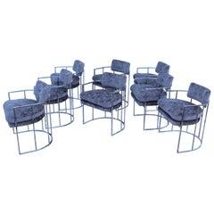 Milo Baughman Chrome and Velvet Barrel Dining Chairs Set of 8