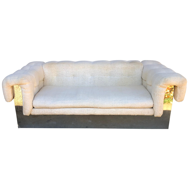 Milo Baughman Chrome Based Small Sofa