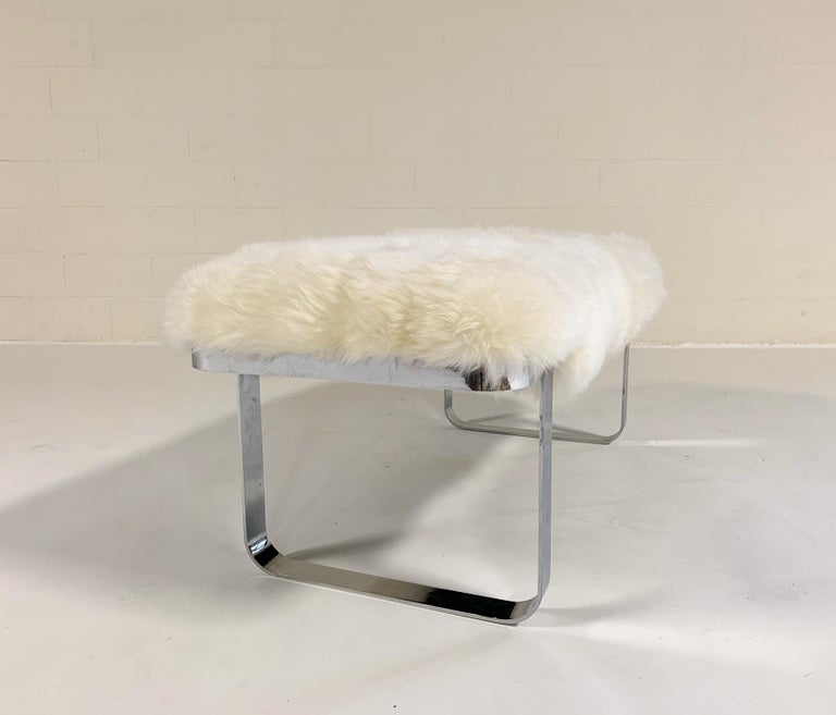 Milo Baughman Chrome Bench Restored in Brazilian Sheepskin In Excellent Condition For Sale In SAINT LOUIS, MO