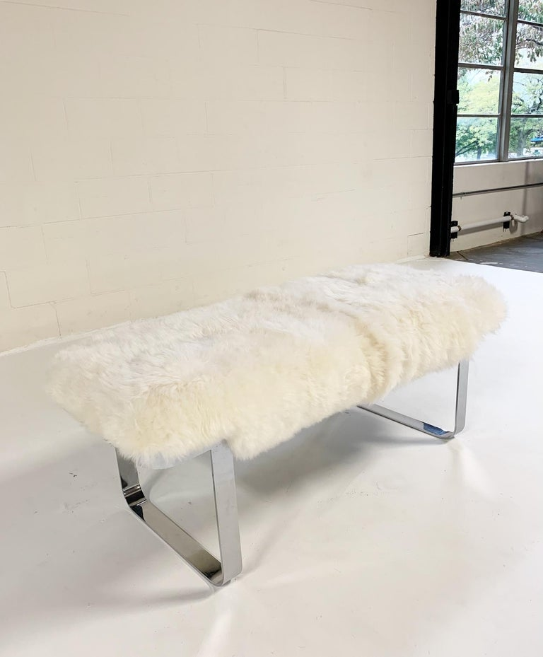 Milo Baughman Chrome Bench Restored in Brazilian Sheepskin For Sale 1