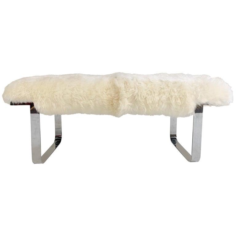 Milo Baughman Chrome Bench Restored in Brazilian Sheepskin For Sale