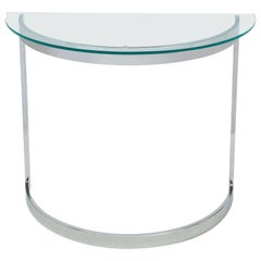 Milo Baughman Chrome Demilune Console Table