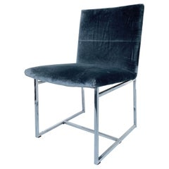 Milo Baughman Chrome Desk Chair in Cowtan & Tout Velvet