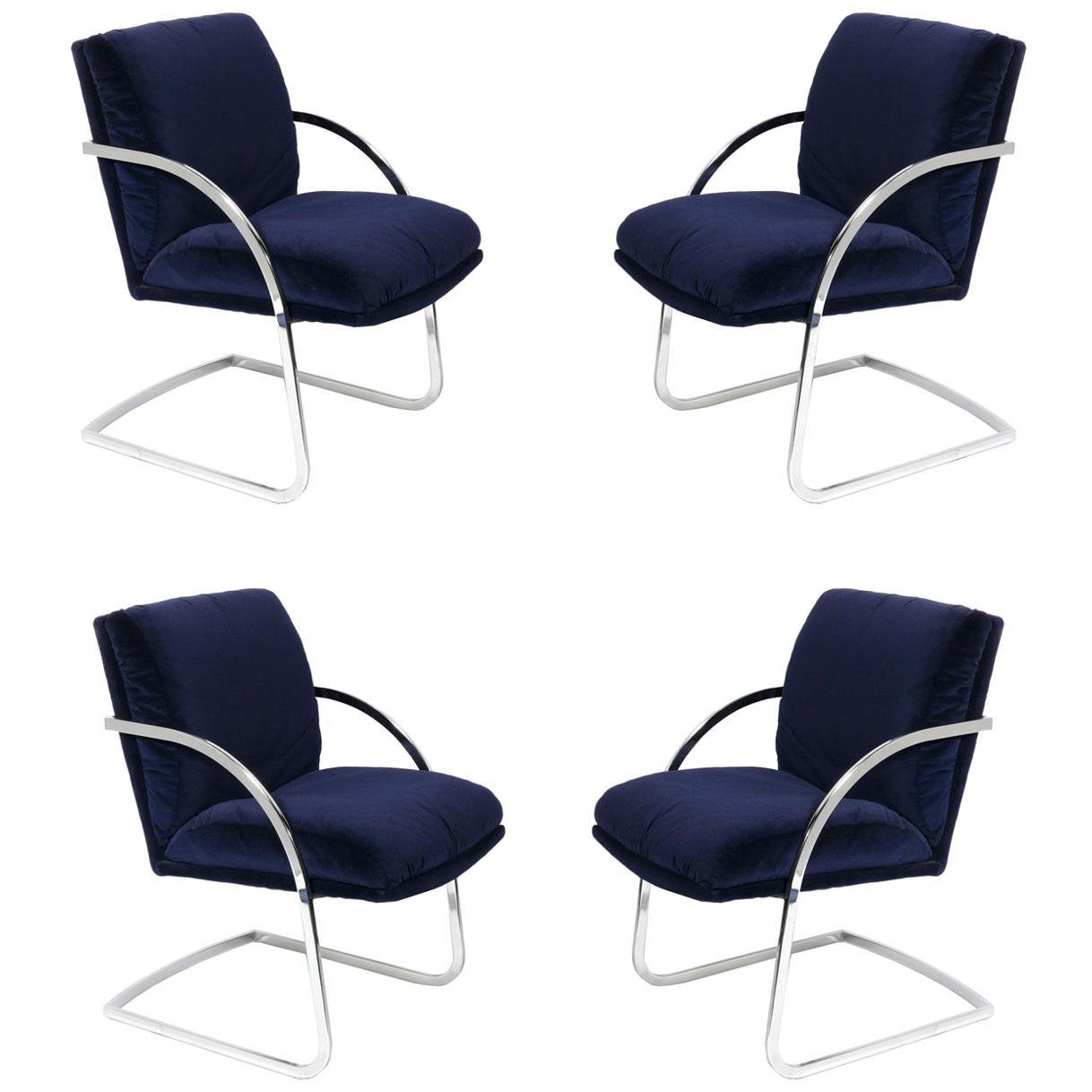 Milo Baughman Chrome Dining Chairs