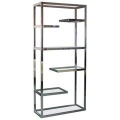 Milo Baughman, Chrome Etagere with Glass Shelves