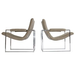 Milo Baughman Chrome Frame Lounge Chairs with Knoll Fabric