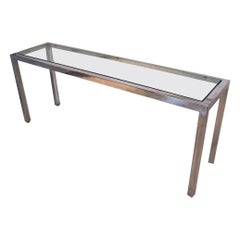 Milo Baughman Chrome Glass Console Table Mid-Century Modern