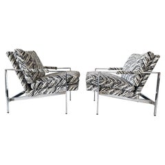Milo Baughman Chrome Lounge Chairs, a Pair