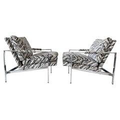 Milo Baughman Chrome Lounge Chairs, a Pair