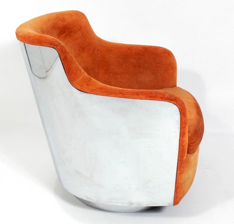 American Milo Baughman Chrome Swivel Chair For Sale