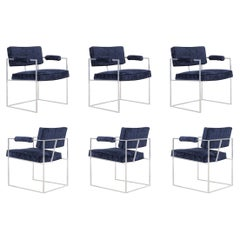 """Milo Baughman Chrome """"Thin Line"""" Dining Chairs for Thayer Coggin"""
