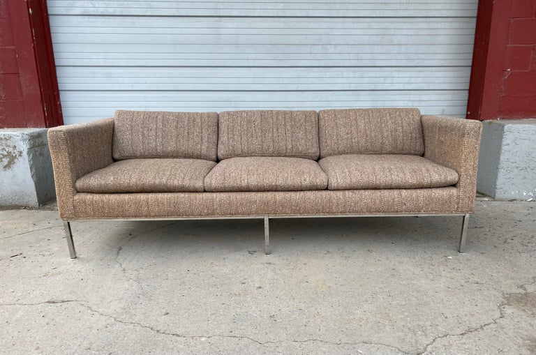 Classic modernist fabric and chrome three-seat sofa attributed to Milo Baughman, retains original wool upholstery, in nice usable condition, soft and extremely comfortable, slight fading, free of rips tears, stains, odors etc, hand delivery avail to