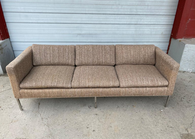 Milo Baughman Attributed Chrome Three-Seat Sofa, Mid-Century Modern In Good Condition For Sale In Buffalo, NY