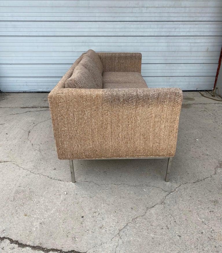 Mid-20th Century Milo Baughman Attributed Chrome Three-Seat Sofa, Mid-Century Modern For Sale