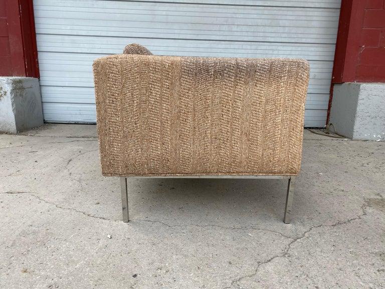 Steel Milo Baughman Attributed Chrome Three-Seat Sofa, Mid-Century Modern For Sale
