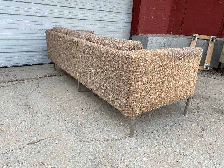 Milo Baughman Attributed Chrome Three-Seat Sofa, Mid-Century Modern For Sale 1