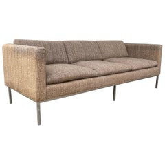 Milo Baughman Attributed Chrome Three-Seat Sofa, Mid-Century Modern