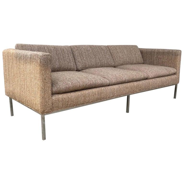 Milo Baughman Attributed Chrome Three-Seat Sofa, Mid-Century Modern For Sale