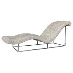 Milo Baughman Chrome Wave Chaise Lounge