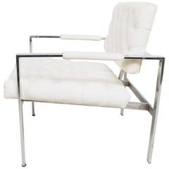 Milo Baughman Classic White Faux Leather & Chrome Tufted Lounge Chair 1960s