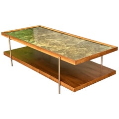 Milo Baughman Coffee Table with Brass Base, 20th Century