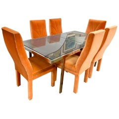 Milo Baughman Comfort Designs Midcentury Dining Room Set Table and Six Chairs