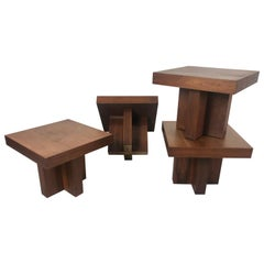 Milo Baughman Style 'Cruciform' End Tables, Architectural Modernist Design