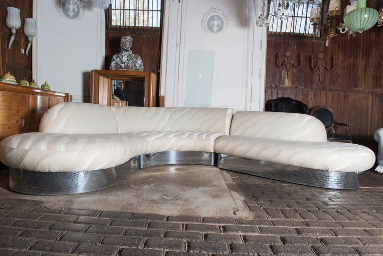 Mid-Century Modern Milo Baughman Curved Sectional Sofa For Sale
