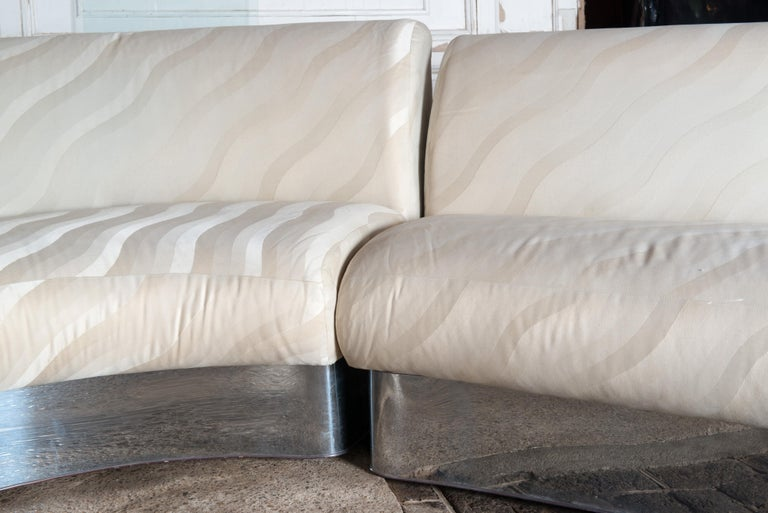 Upholstery Milo Baughman Curved Sectional Sofa For Sale