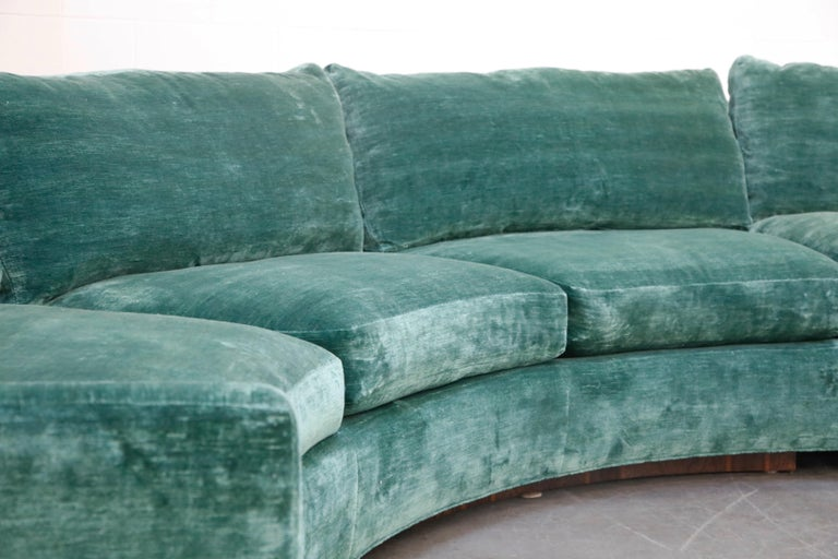 Milo Baughman Curved Semi-Circle Sofa with Rosewood Base, 1960s, Signed 5