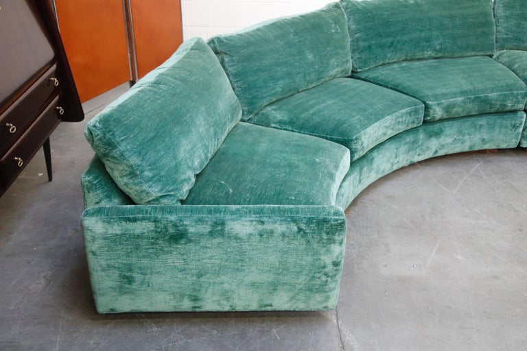 Milo Baughman Curved Semi-Circle Sofa with Rosewood Base, 1960s, Signed 8