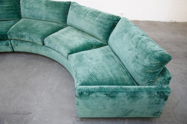 Milo Baughman Curved Semi-Circle Sofa with Rosewood Base, 1960s, Signed 10