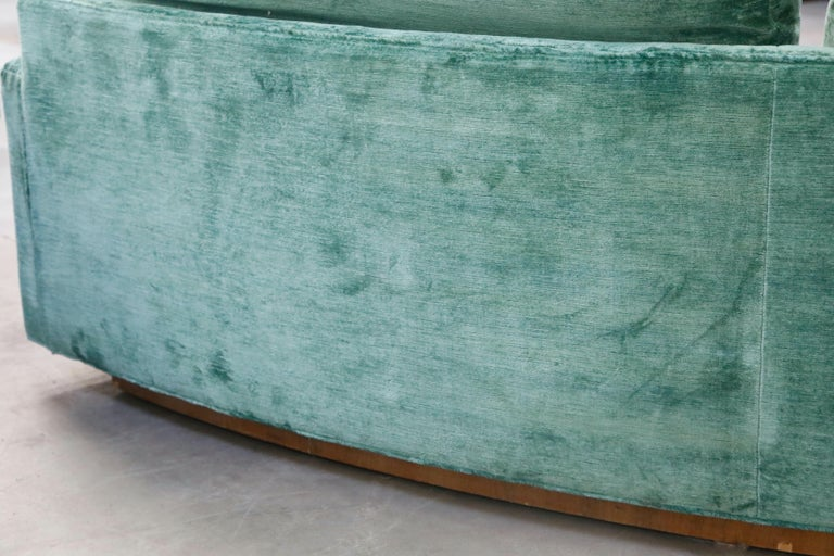 Milo Baughman Curved Semi-Circle Sofa with Rosewood Base, 1960s, Signed 13