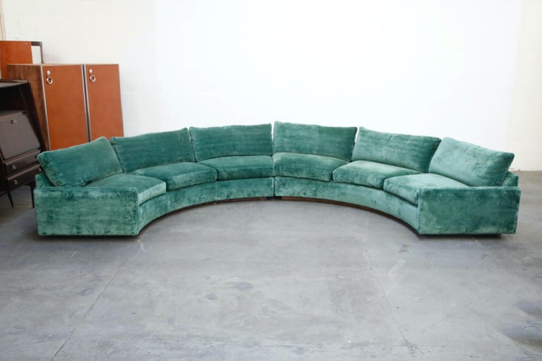 Mid-Century Modern Milo Baughman Curved Semi-Circle Sofa with Rosewood Base, 1960s, Signed