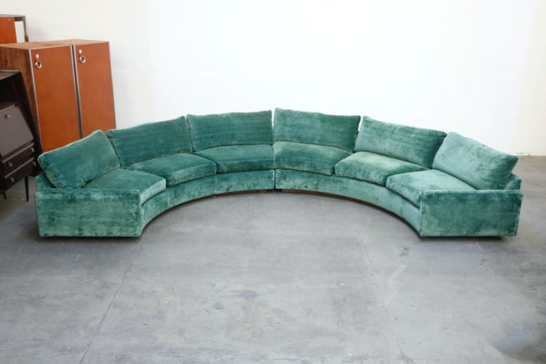 American Milo Baughman Curved Semi-Circle Sofa with Rosewood Base, 1960s, Signed
