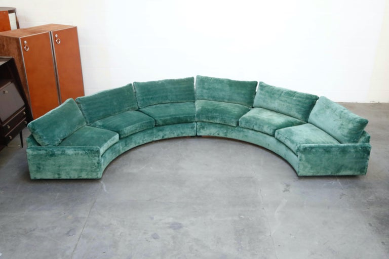 Milo Baughman Curved Semi-Circle Sofa with Rosewood Base, 1960s, Signed In Good Condition In Los Angeles, CA