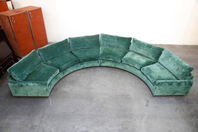 Mid-20th Century Milo Baughman Curved Semi-Circle Sofa with Rosewood Base, 1960s, Signed