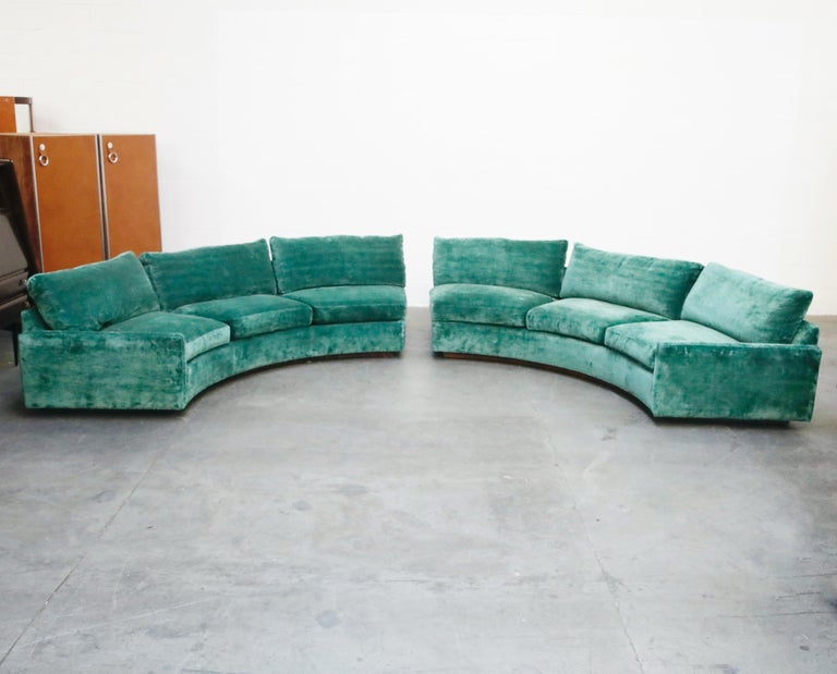 Velvet Milo Baughman Curved Semi-Circle Sofa with Rosewood Base, 1960s, Signed