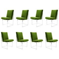 Milo Baughman Dining Chairs in Italian Velvet, Eight