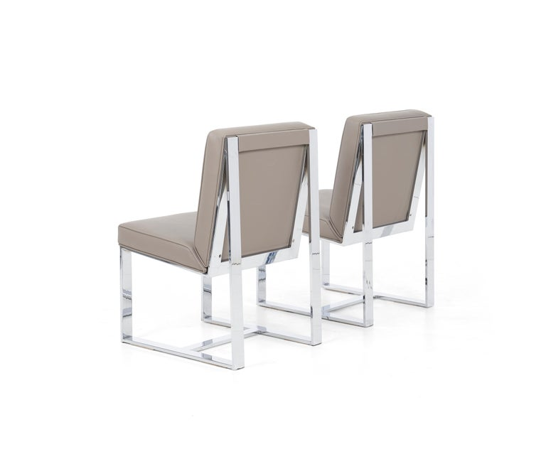 Plated Milo Baughman Dining Chairs, Set of 8 For Sale