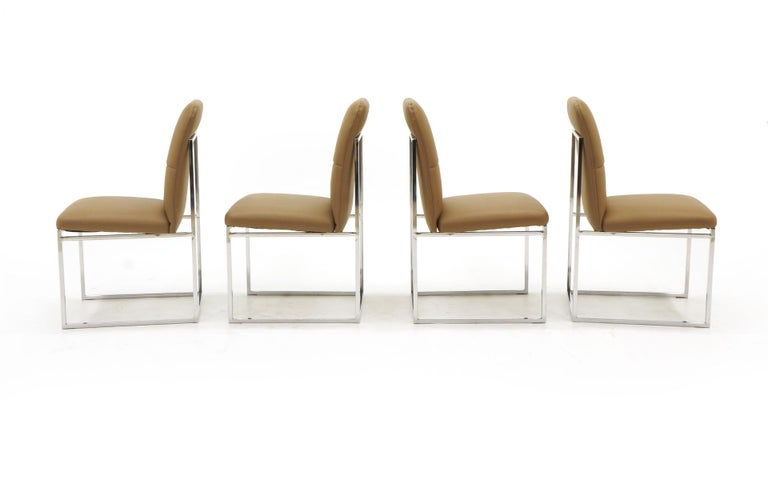 American Milo Baughman Dining Chairs, Set of Four, Chrome and Tan Leather For Sale