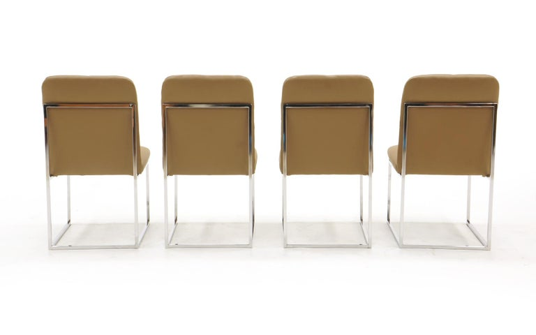 Milo Baughman Dining Chairs, Set of Four, Chrome and Tan Leather In Good Condition For Sale In Kansas City, MO