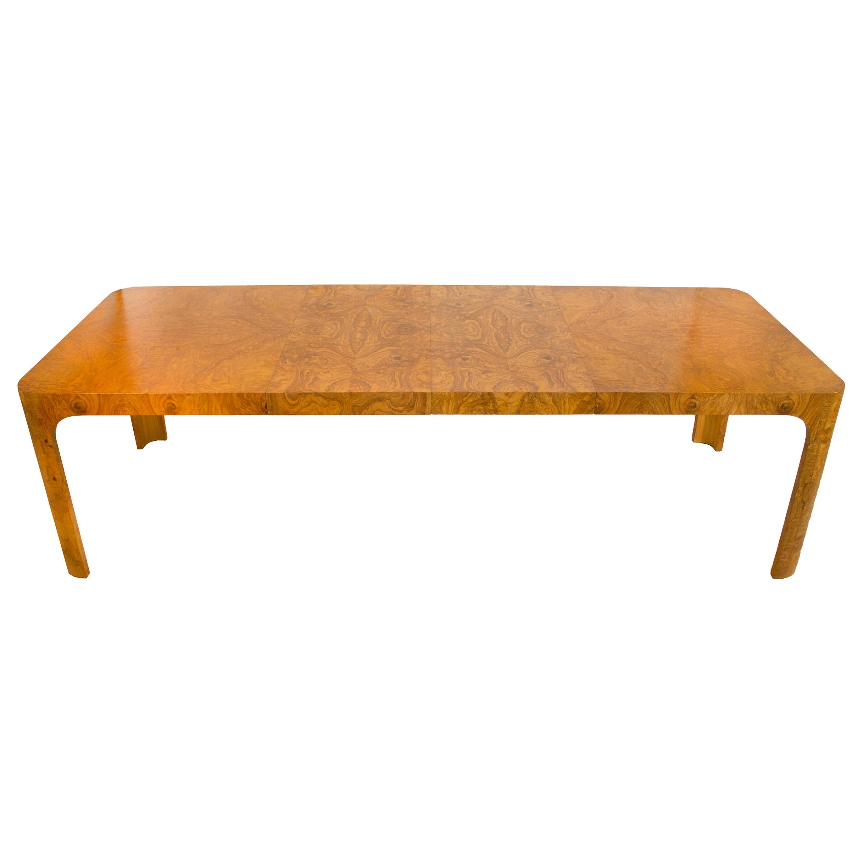 Milo Baughman Dining Table for Thayer Coggin in Olive Burl Wood, 1960s