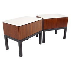 Milo Baughman Directional Style MCM Walnut Travertine Marble Nightstands, Pair