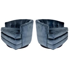 Milo Baughman Directional Swivel Club Chairs, Pair, Newly Upholstered in Velvet