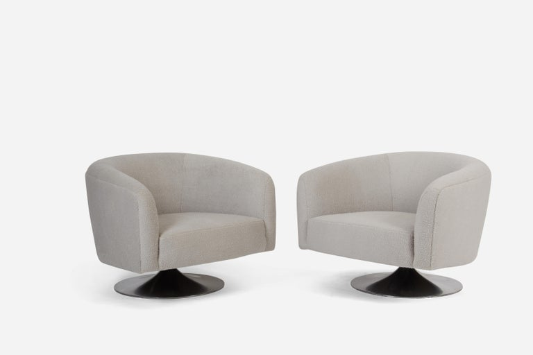 Pair of tulip/disc base swivel chairs by Milo Baughman. Fully restored and reupholstered in plush grey fabric.