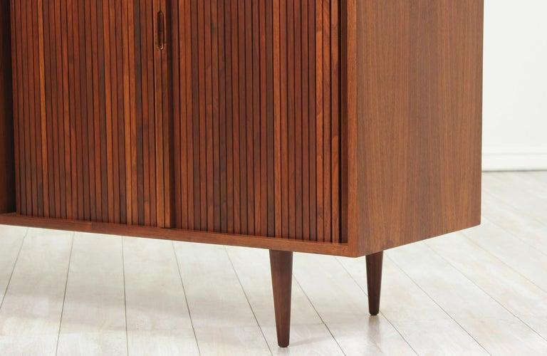 Mid-20th Century Milo Baughman Double Tambour-Door Credenza for Glenn of California For Sale