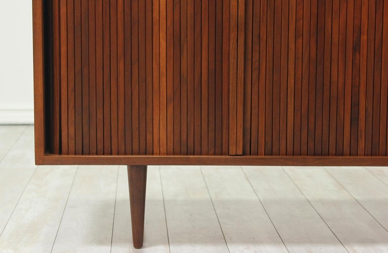Walnut Milo Baughman Double Tambour-Door Credenza for Glenn of California For Sale